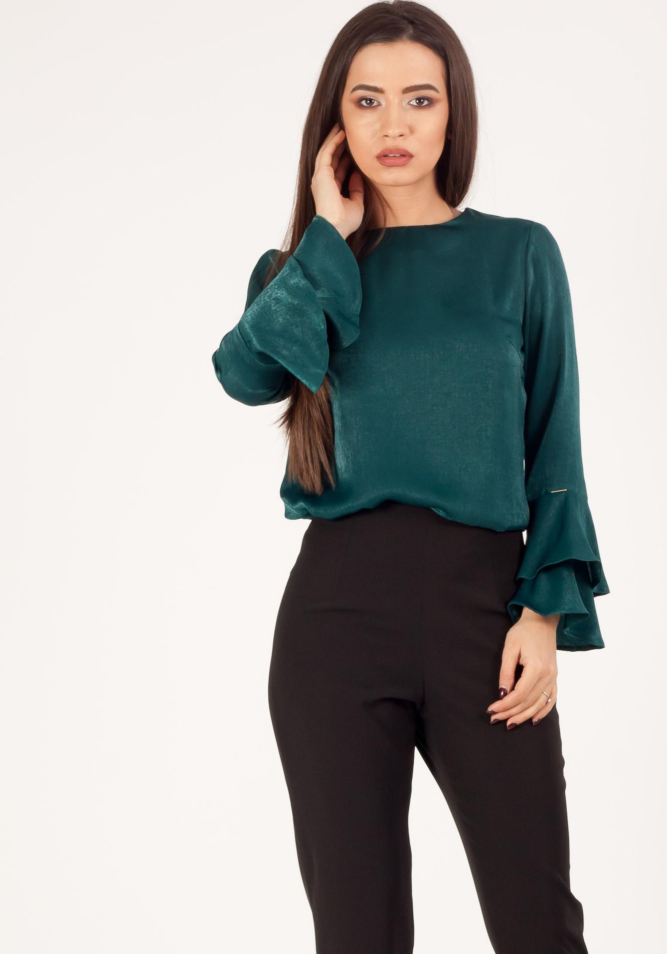 Bluza casual cu volane verde smarald