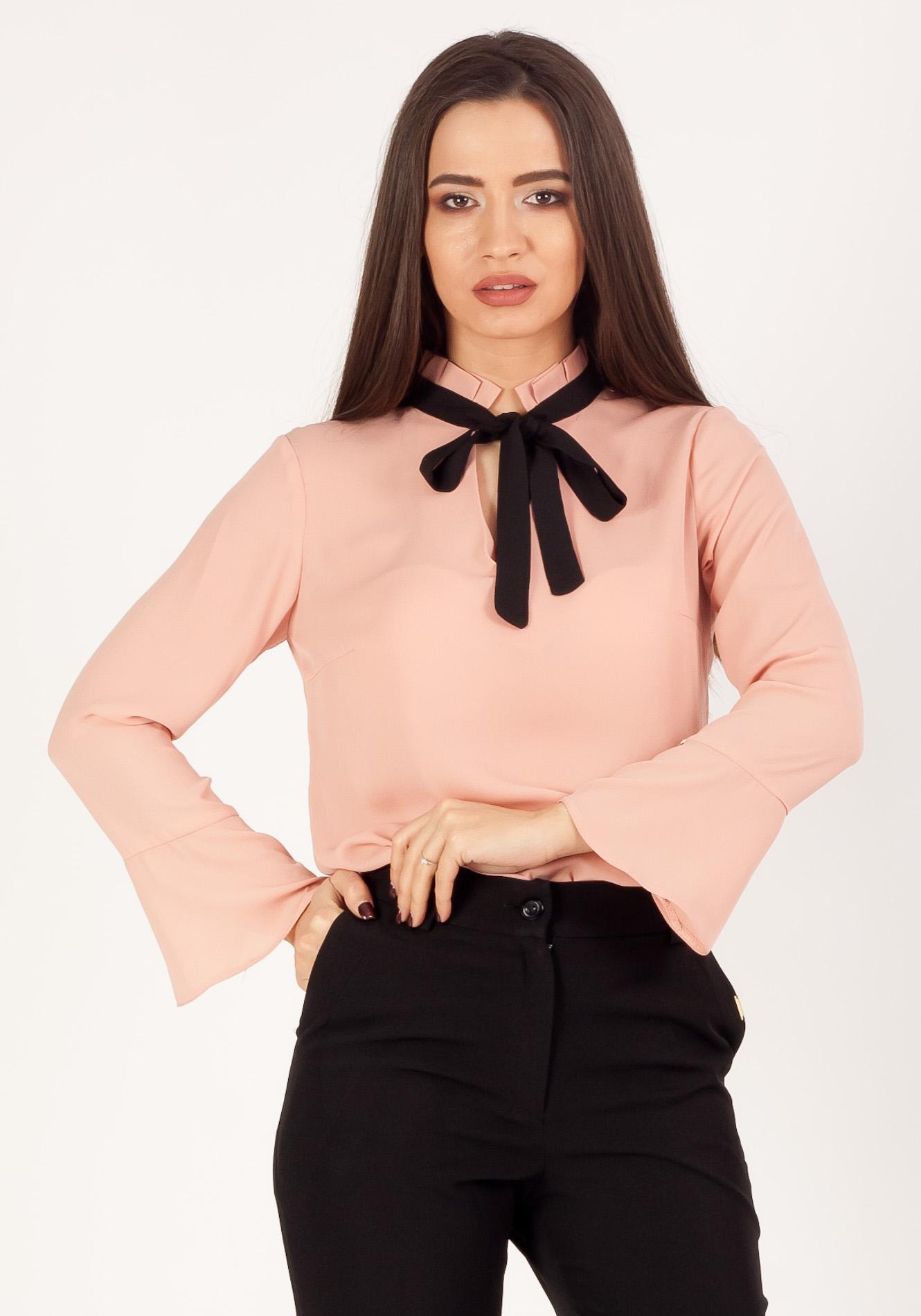 Bluza cu cravata Roz praf