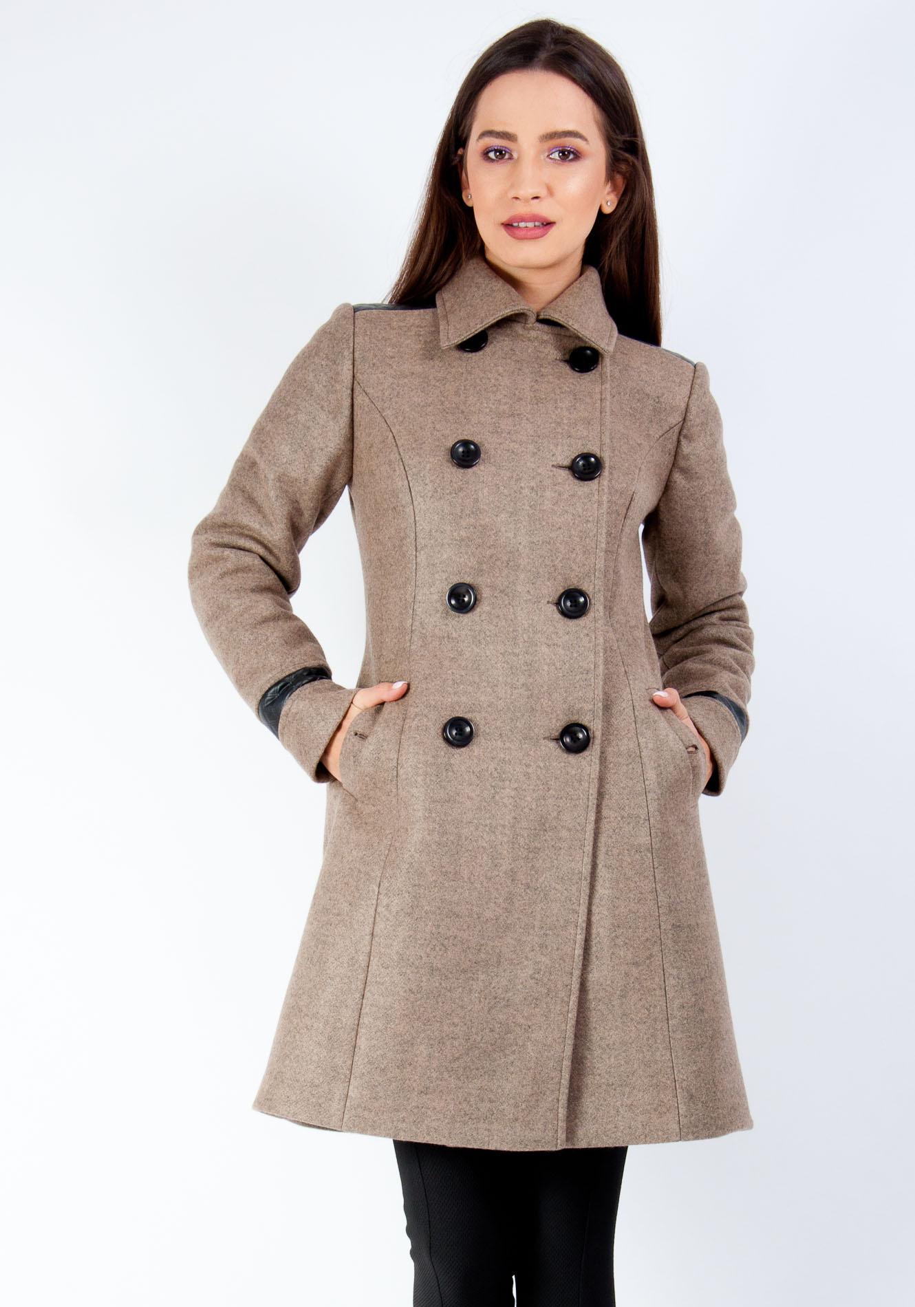 Palton iarna cu rever gri bej 36