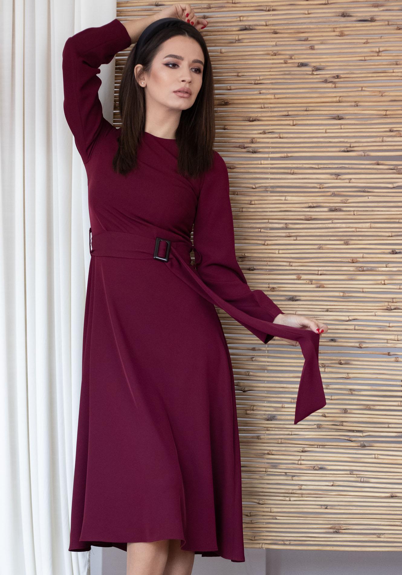 Rochie cu fusta evazata Bordo