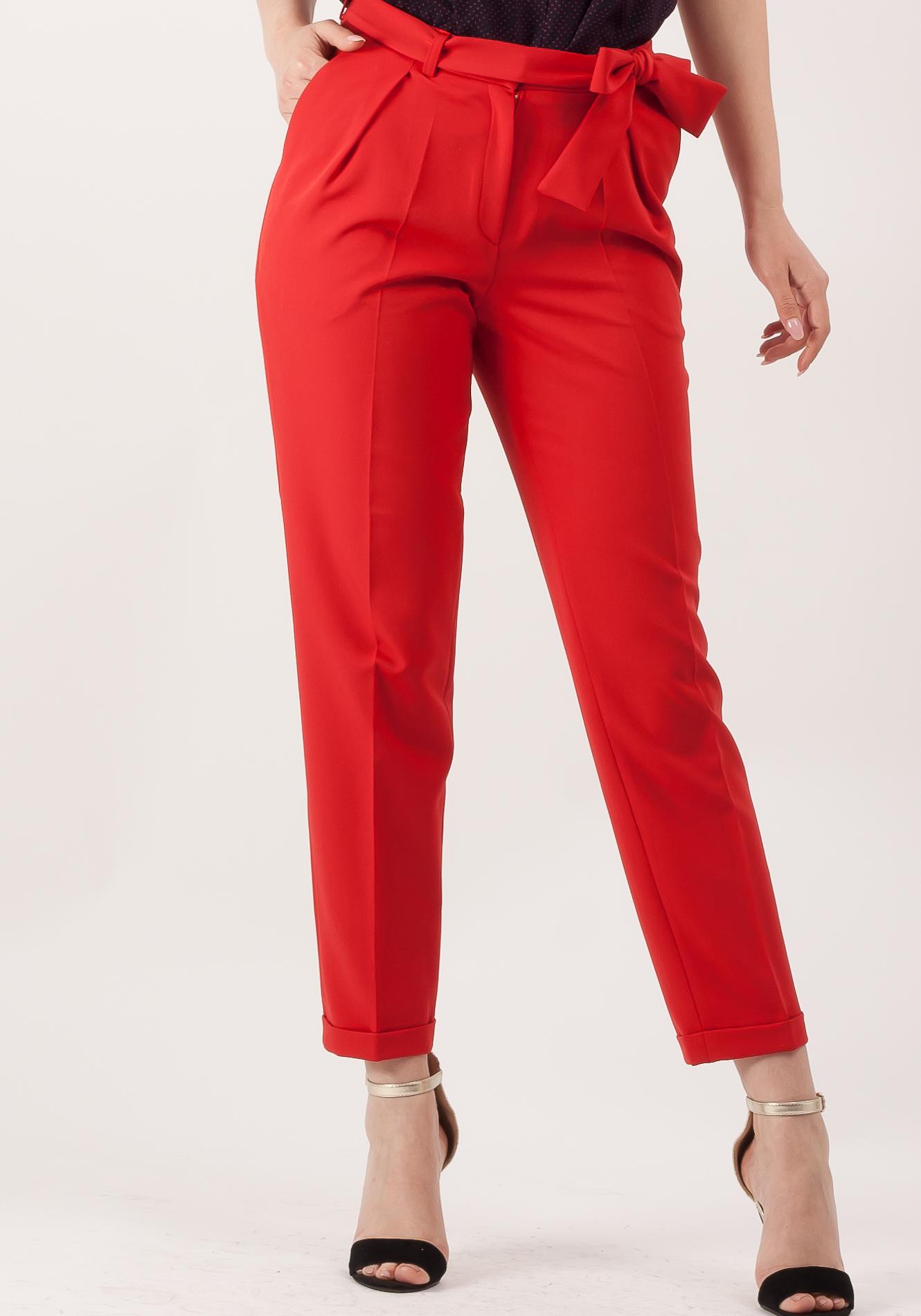 Pantalon cu manseta rosu