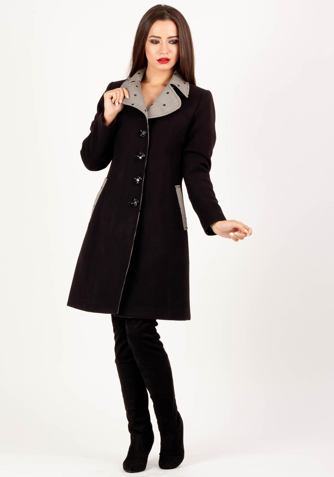 Palton cu rever Negru