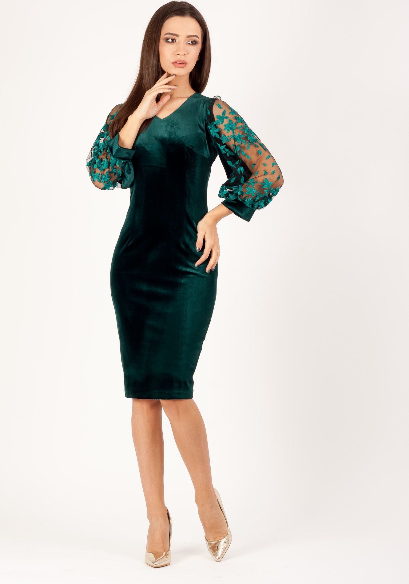 Rochie din catifea conica Verde