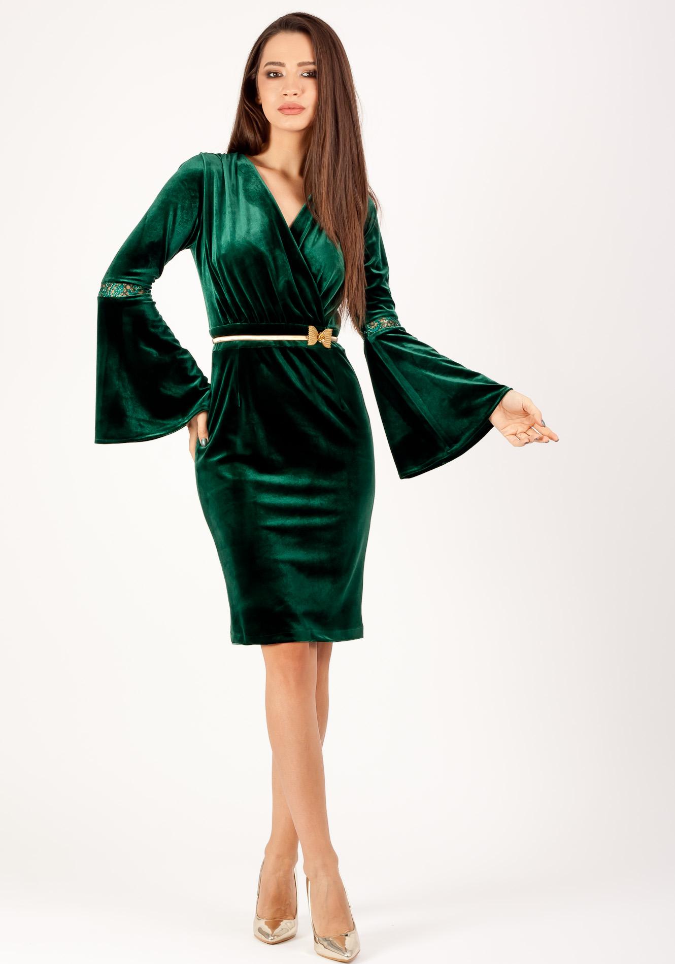 Rochie petrecuta conica Verde